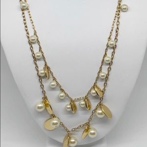 J.Crew double strand pearl and gold necklace